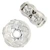 Rhinestone Rondelle (Flat Round) 7mm Silver/Crystal